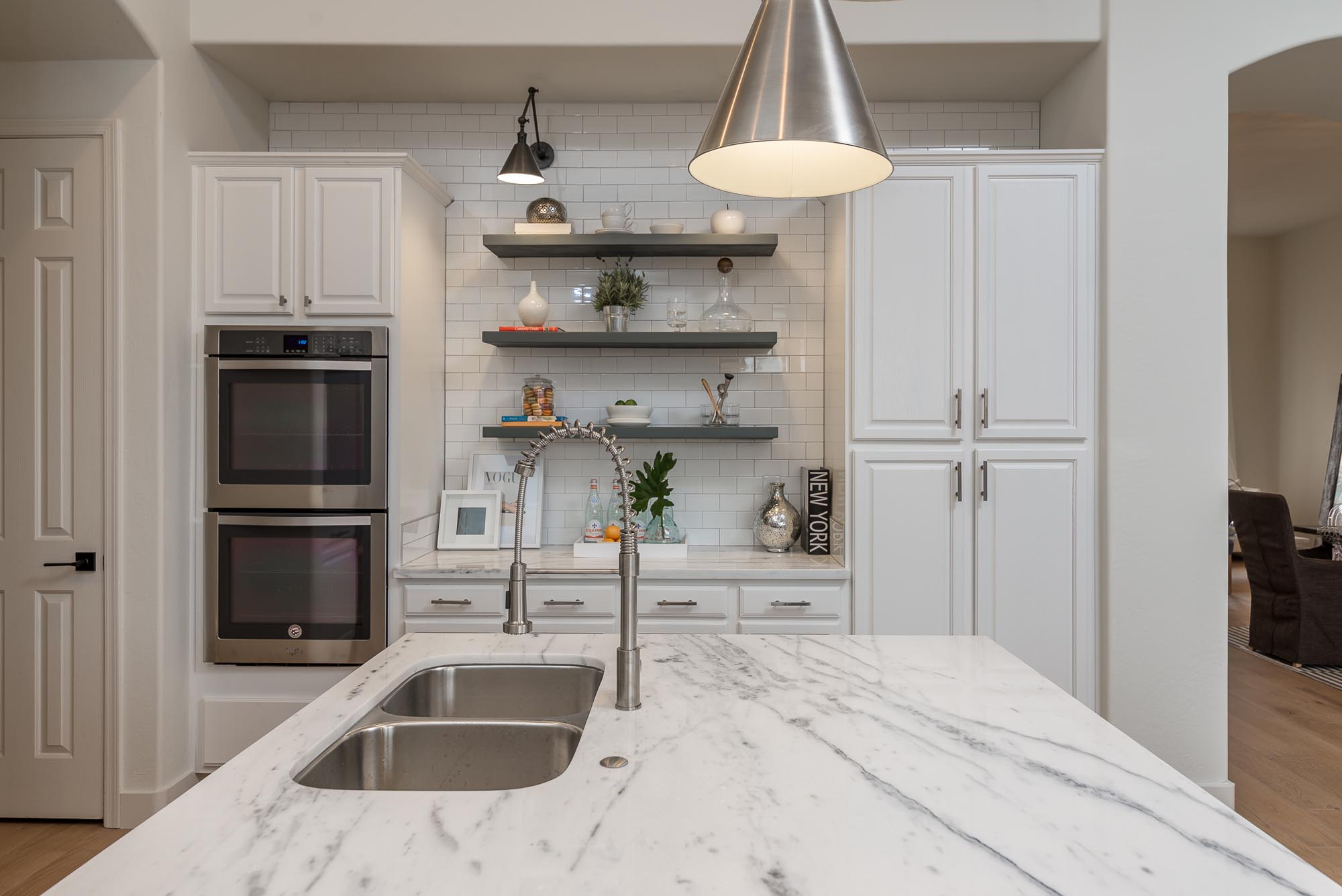 Kitchen granite countertop island with stylish faucet