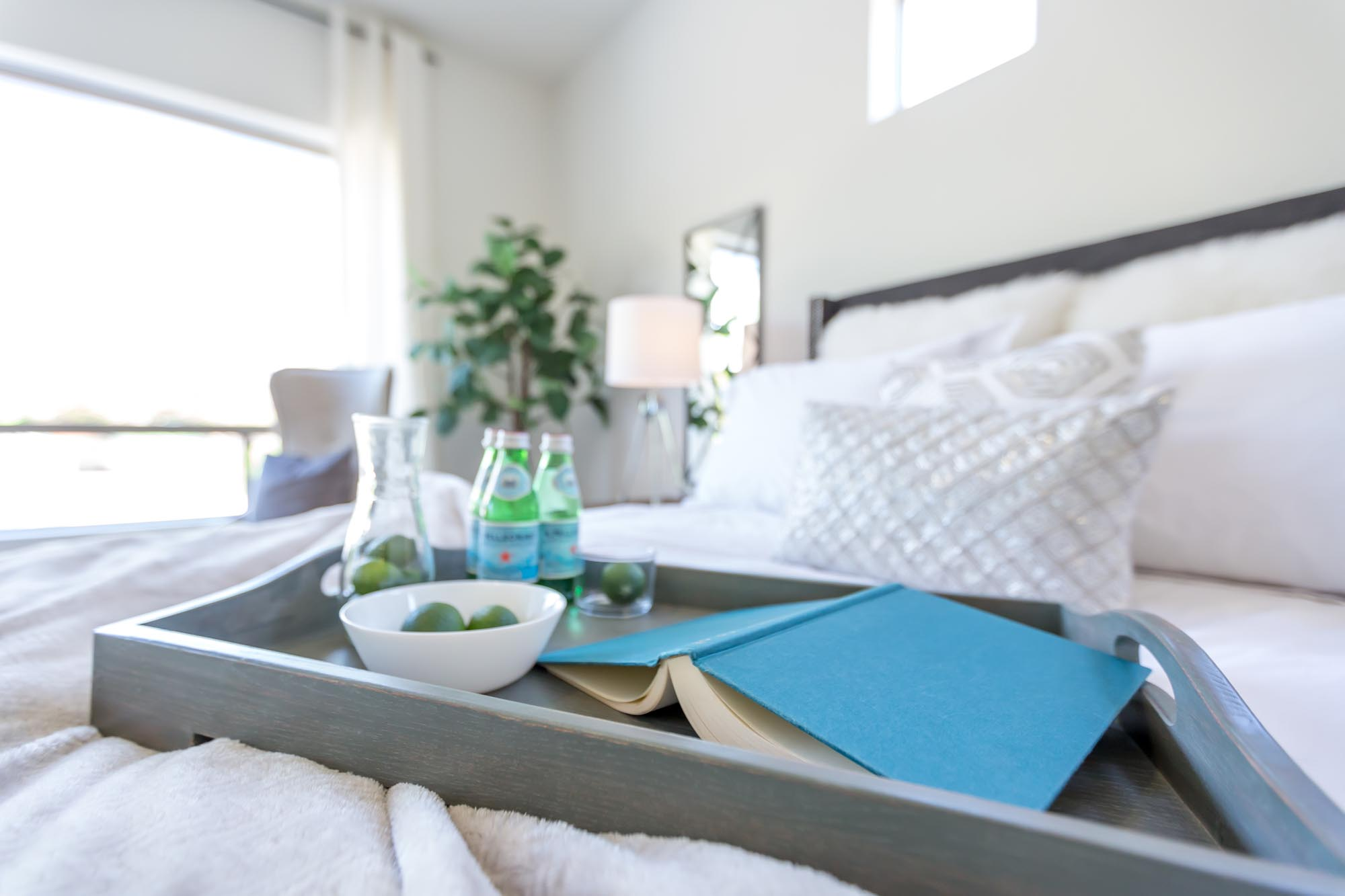 Tray on bed with drinks and book