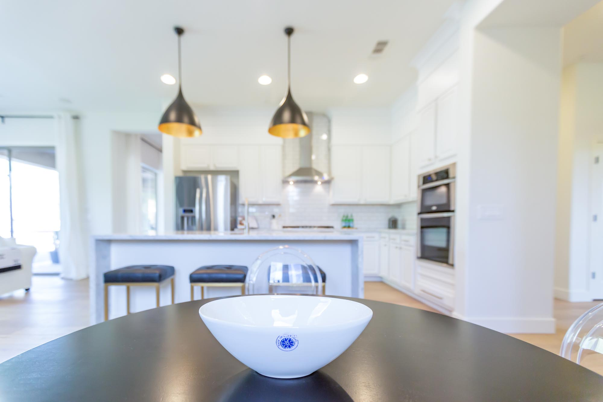 Kitchen area with porcelain bowl on a table