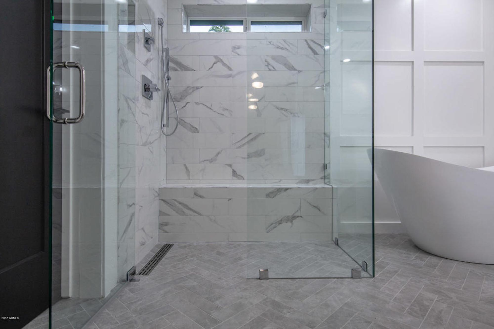 Bathroom with glass shower room
