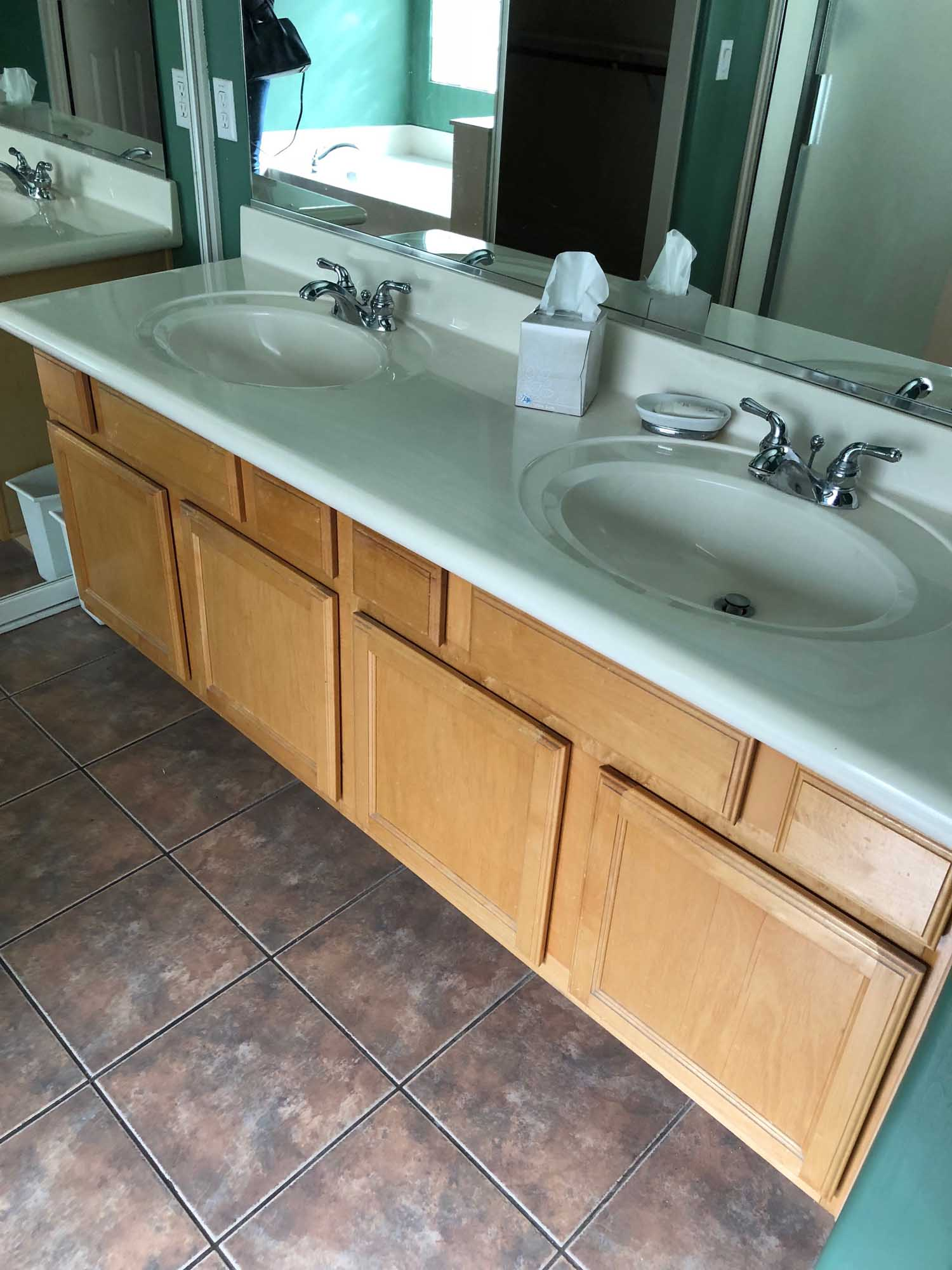 Oval shape sink and faucet with mirror