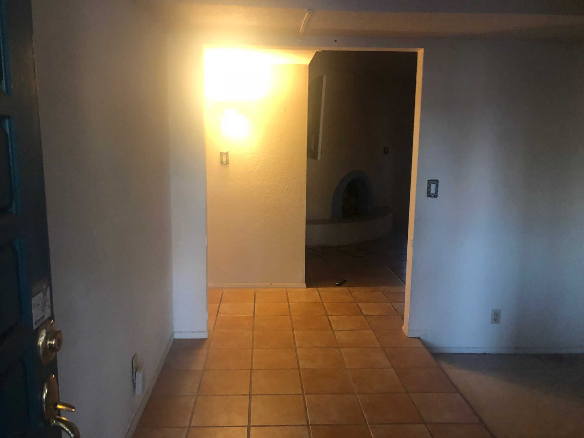 Old entryway with tile floor