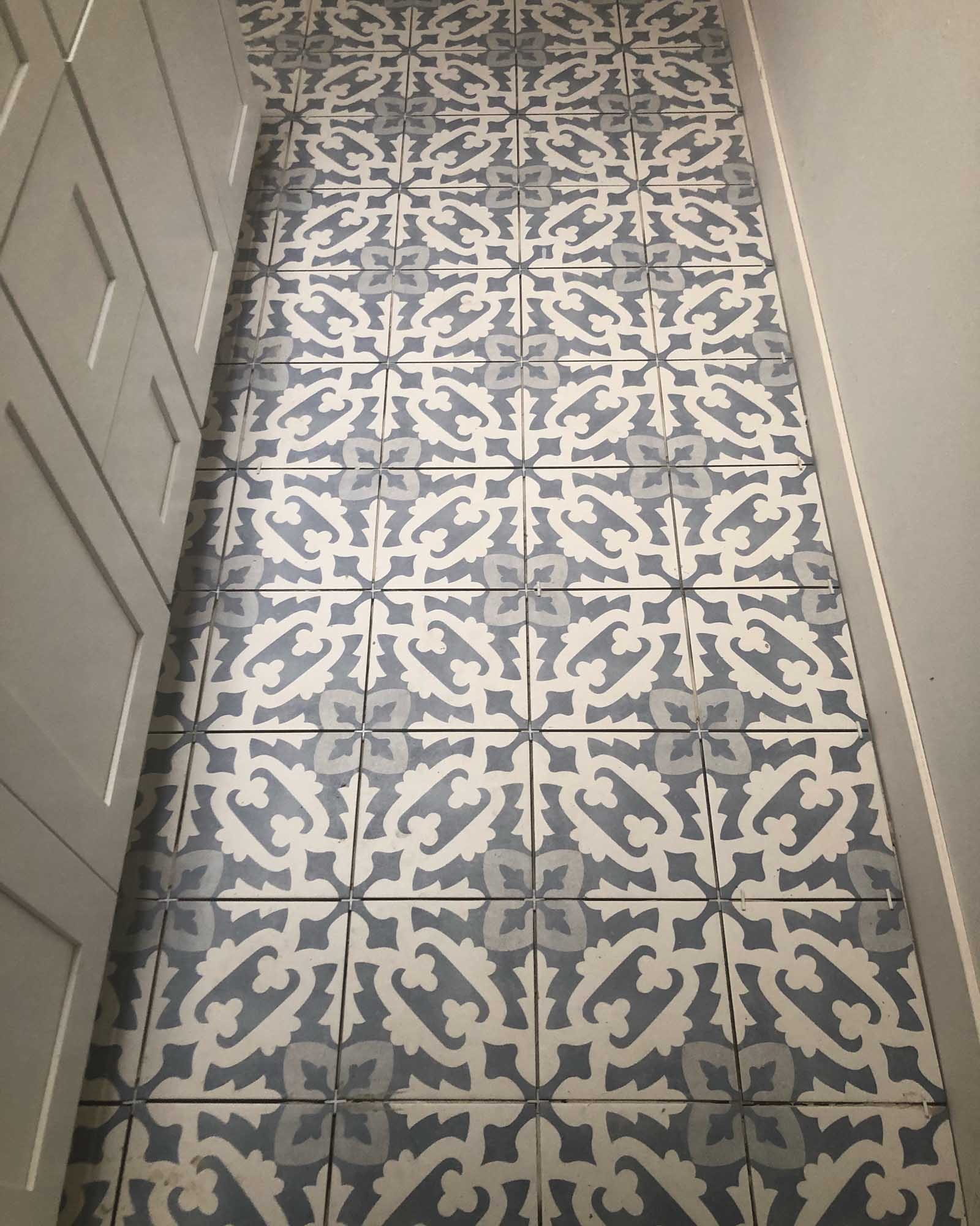 White and gray vintage decorative tile