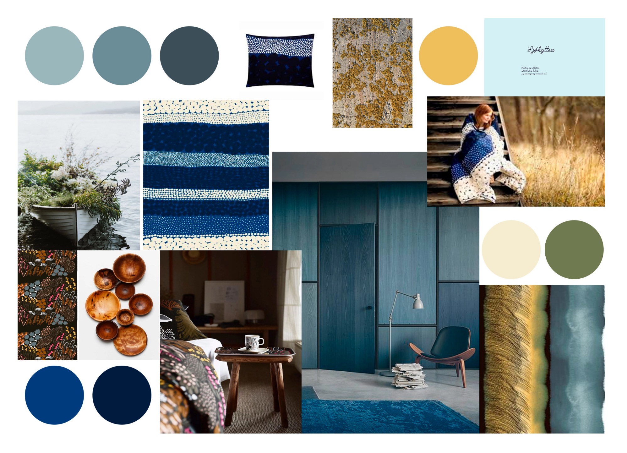 Textile - Surfaces and wallpaper. Indoor and outdoor. Moodboard. A cabin by the sea