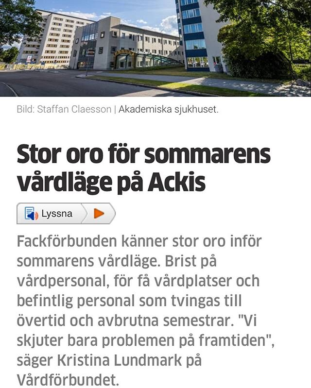 ☀️🌸🌿 Summer has arrived and everyone in healthcare Sweden knows what that means - staff shortage panic.  Dear healthcare heroes. ❤️ We see how hard you work. That's why we're here. We have made this product for you. We want to help.  Article from Uppsala nya tidning.  #akademiskasjukhuset #uppsalanyatidning #sjukvård #digitalvård #sjuksköterska #healthtech