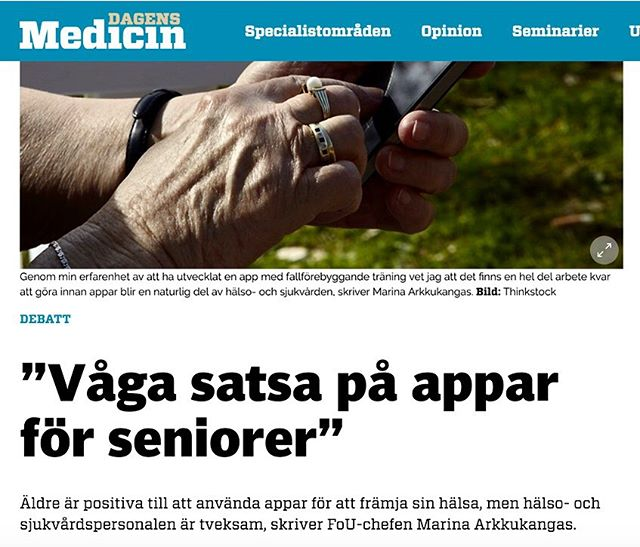 Couldn't have said it better myself!  Sometimes healthcare professionals are sceptic about using our product, because they believe that their elderly patients might feel uncomfortable using an app. But we think that kind of thinking is underestimating your patients! 💚 Todays elderly are often frequent users of smartphone apps, especially when it comes to communication. For example, posting holiday pictures on Facebook. 🏝Why shouldn't these people enjoy having a safe communication channel to their clinic in a mobile application?  Translation for the picture: Dare to go for healthcare applications for elderly  Link to the article: https://www.dagensmedicin.se/artiklar/2019/07/31/vaga-satsa-pa-appar-for-seniorer/  #sjukvård #läkare #patient #mobilehealth #dagensmedicin