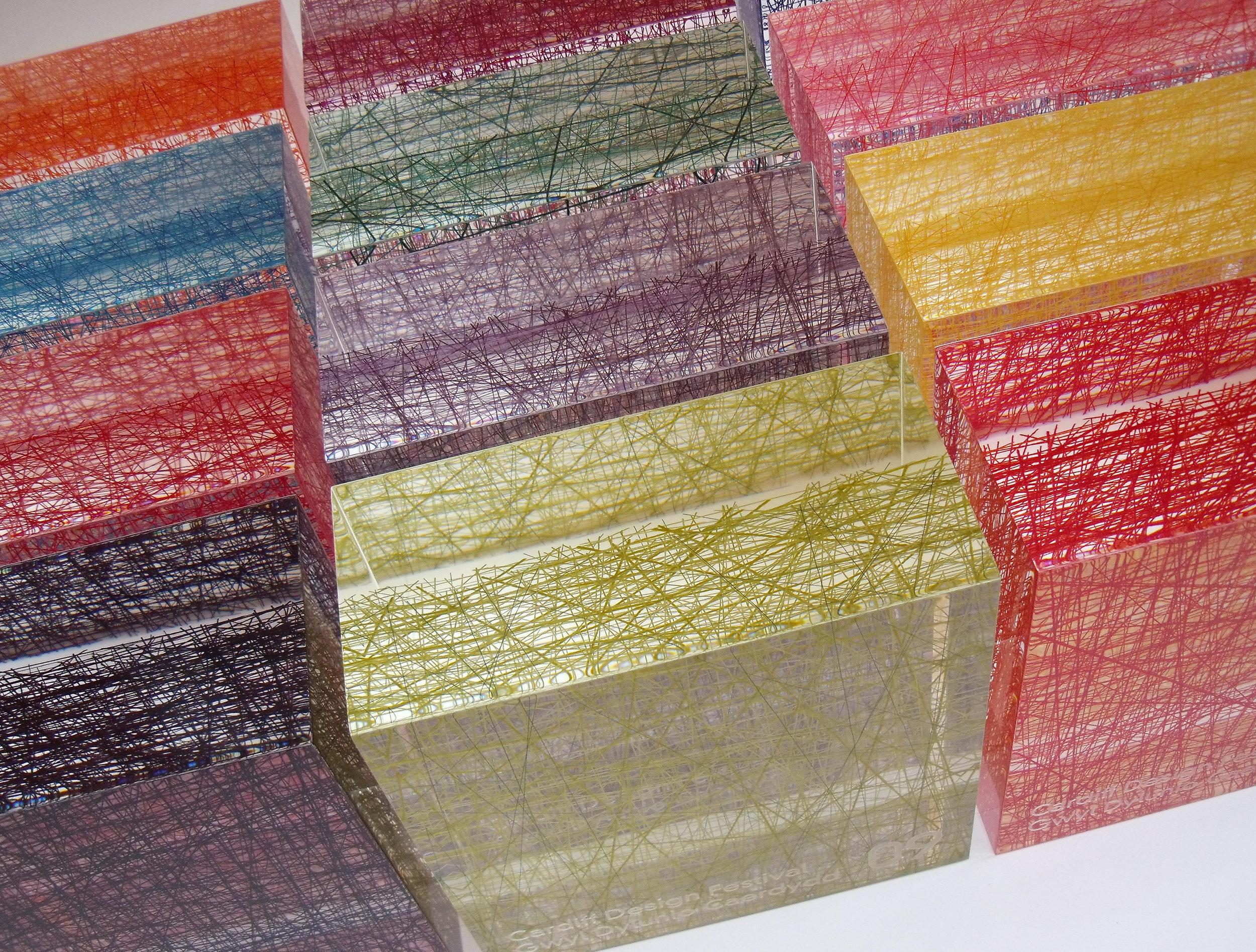 Cardiff Design Festival 2009 awards. Cotton encapsulated in acrylic resin.