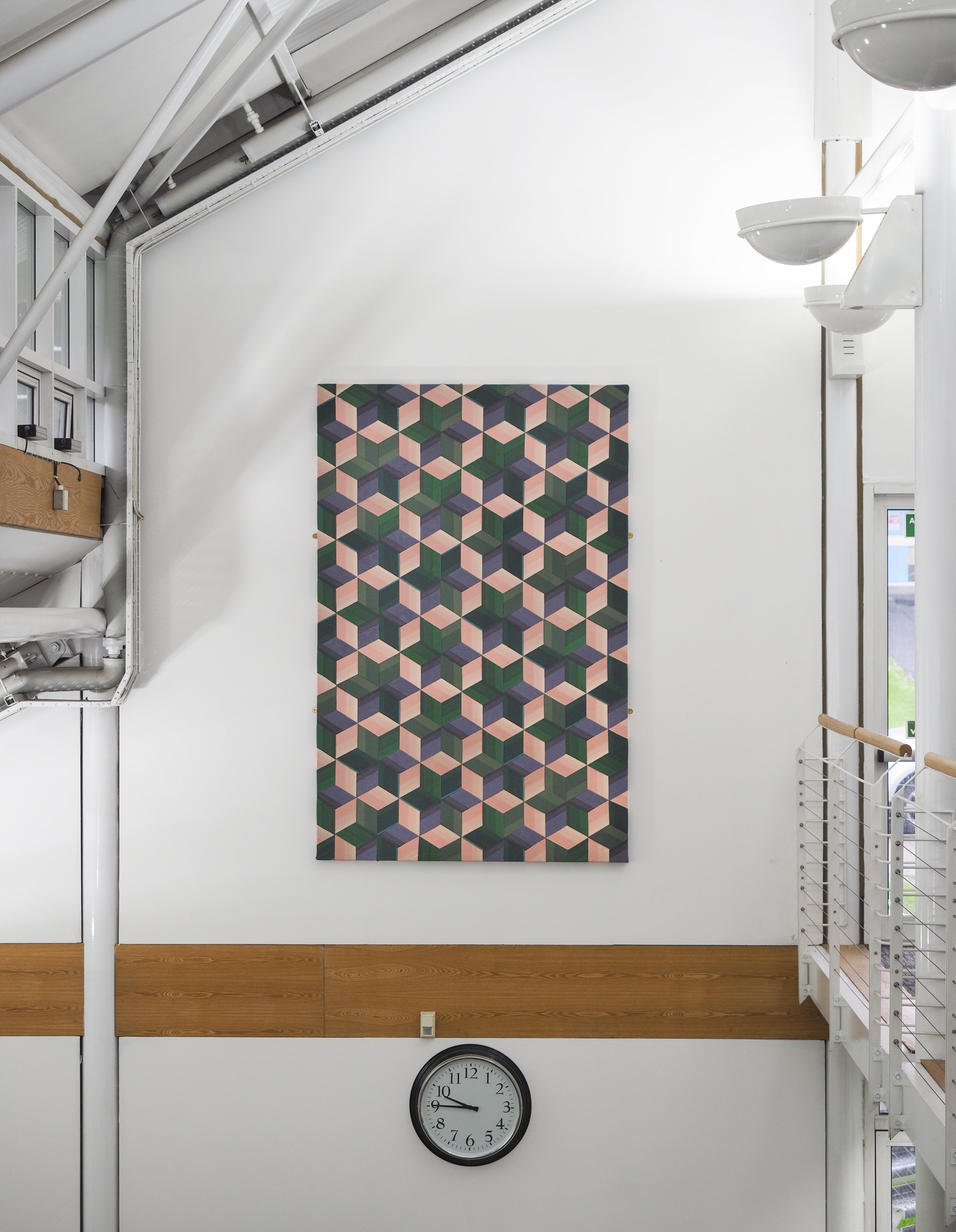 'The Trinity Weave' wall hanging commission for University of Wales Trinity Saint David Carmarthen Campus library. 2018. Handwoven cotton and linen. 230x150cm.