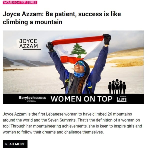 """Be patient, success is just like climbing a mountain! . Thank you @berytech_ for featuring me in """"women on top series""""! . Always thankful for my #peakperformancesponsor @ambankofficial for believing in my dream!"""