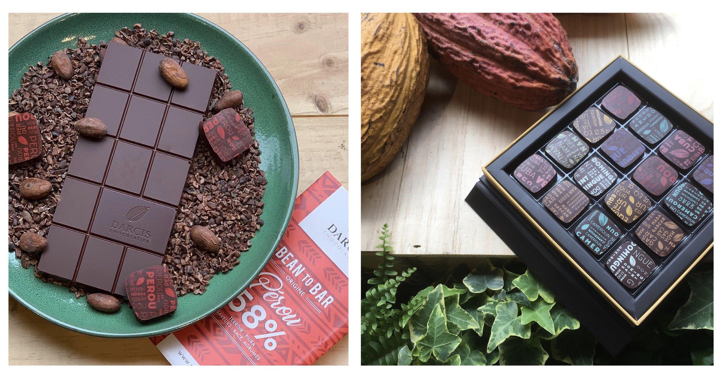 Darcis Chocolatier 將巧克力分為兩大類:Bean-to-bar 莊園原豆巧克力片(圖左)及 Gourmet Bars 風味巧克力片(圖右)