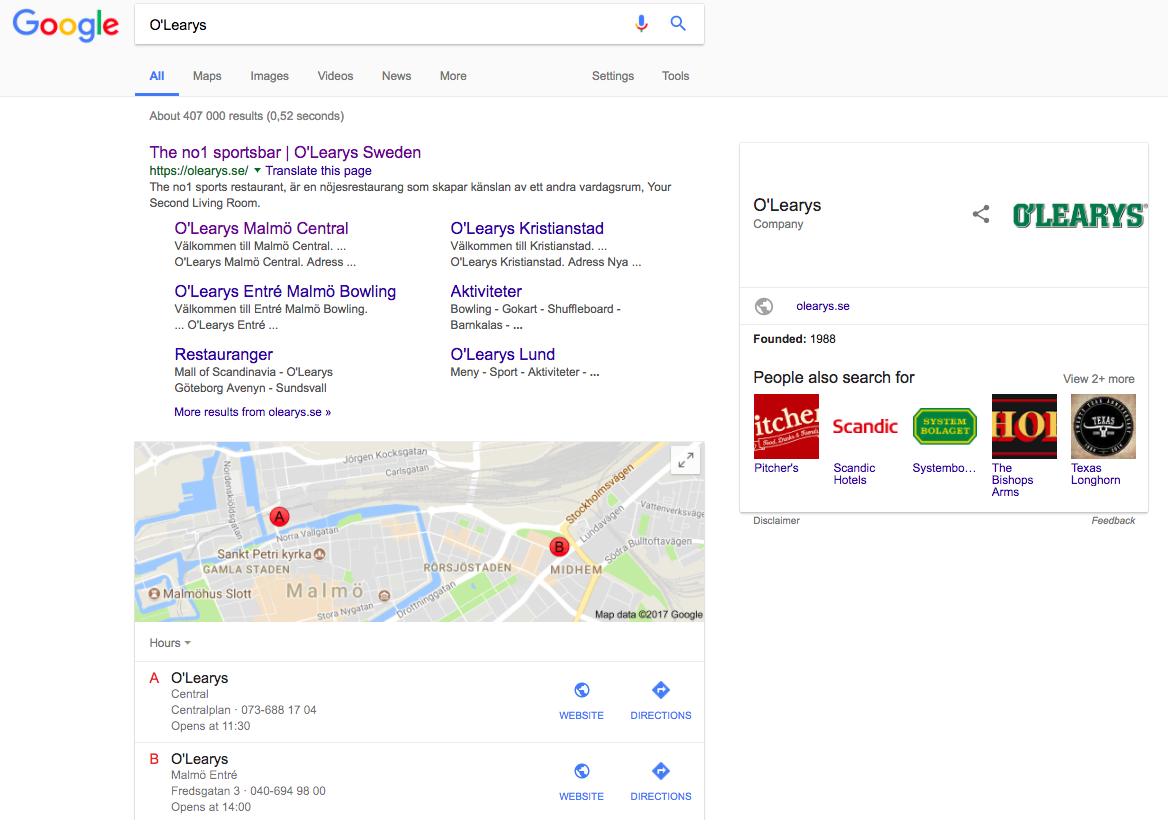 "Google search results for ""O'Learys"" showing Google Maps locations for nearest O'Learys"