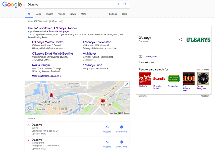 "Fig. 2 - Google search results for ""O'Learys"" showing Google Maps locations for nearest O'Learys"