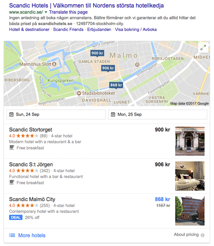 Figure 4. Google search for Scandic Hotels showing nearest locations, price, and booking options.