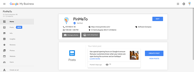 """The post tools can be found in Google My Business under the """"Manage Location"""" button."""