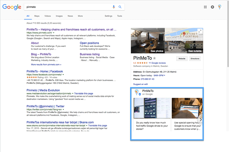 Screenshot showing recent posts displayed in Google search results for PinMeTo