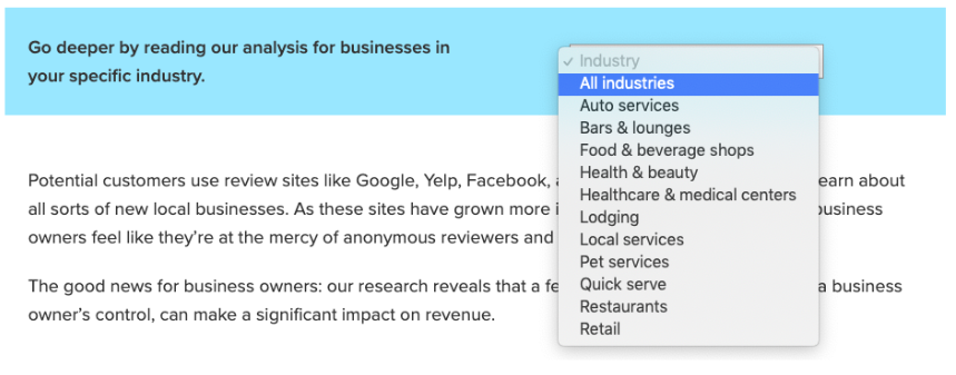 Image 1: Dropdown menu for selecting your industry from the Womply study