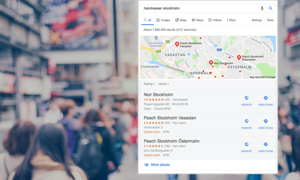 Google local pack when searching for hairdresser Stockholm