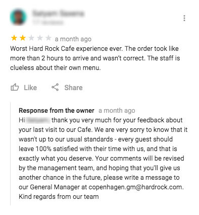 An example of a good response to a negative review