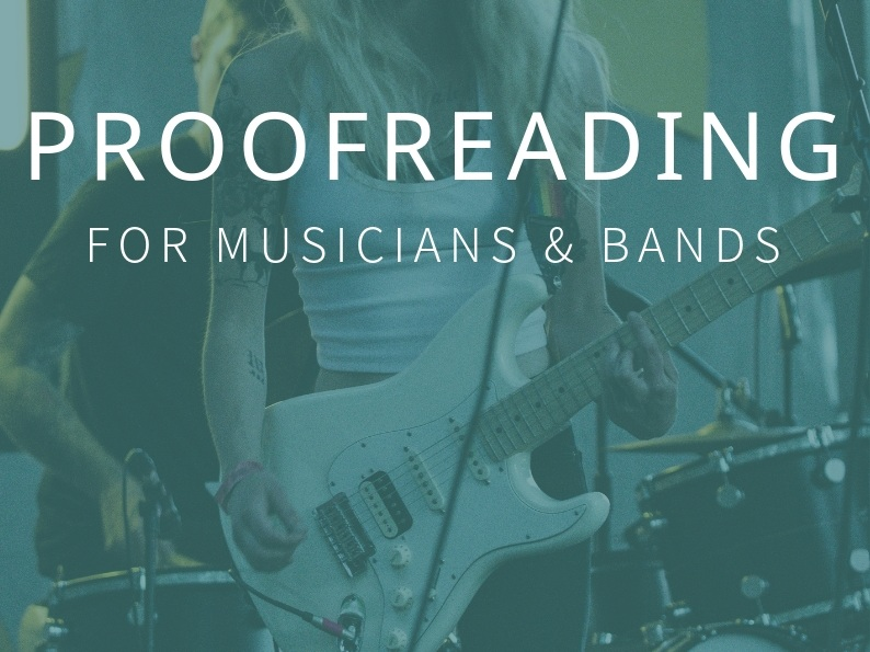 If you're trying to get anywhere in the music industry, an online presence is essential so that your fans—as well as promoters, venues, agents, labels, etc.—can find you and your music easily. Hiring a trained pair of eyes to proofread your website will help you to project a professional image for your band.