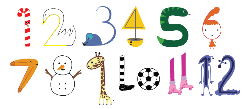 Solution  : Make all numbers into images eg 2 becomes a swan and 5 becomes a snake. Look at sites like  Table Fables  which only use visuals instead of numbers.