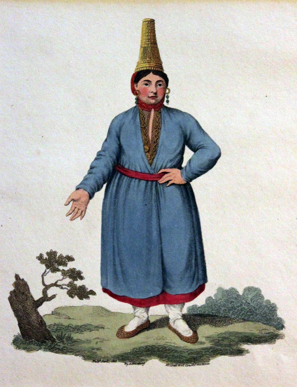 08 An early 19thC engraving of a Russian Mari woman wearing a traditional birch bark hat. Courtesy of Richard Nicholson, antiquemaps.com.jpeg