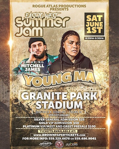 🚨FRESNO🚨 I will be joining @youngma , @fashawn , @haiti_babii , and @planetasiamedallions at Granite Park June 1st👀👀👀👀👀 🎈DM me and we'll get you your tickets!🎈 S/O to @rogueatlas for putting this on. I appreciate everyone's support on this. • • • • • • • #fresno #fresnocalifornia #559 #559stoners #pizza #wavey #denverhiphop #californiahiphop #fresnostate #centralvalley #coloradohiphop #waveysworld #humblerap #livemusicvenue #livemusic #thissongslaps #youngma #planetasia #fashawn #haitibabii #rogueatlas #fresnoconcert #nickelnickelnine