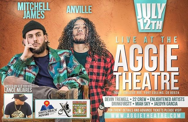 📣THIS FRIDAY with @anville.will 📣 Doors open at 8:00 at @aggietheatre  Hosted by @lance_mijares of FLO 107.1 Featuring @d1._.dev @enlightenedartistsmusic #22crew #onepeace #miahsky #jaedyngarcia • • • • #aggietheatre #fortcollins #coloradohiphop #foconofoco #foco #northerncolorado #unsignedartist #w #livemusic #workmemes #denverhiphop #thingstododenver #greeleycolorado #greeleystampede #559 #greeley #coloradostateuniversity #csu #humblerap