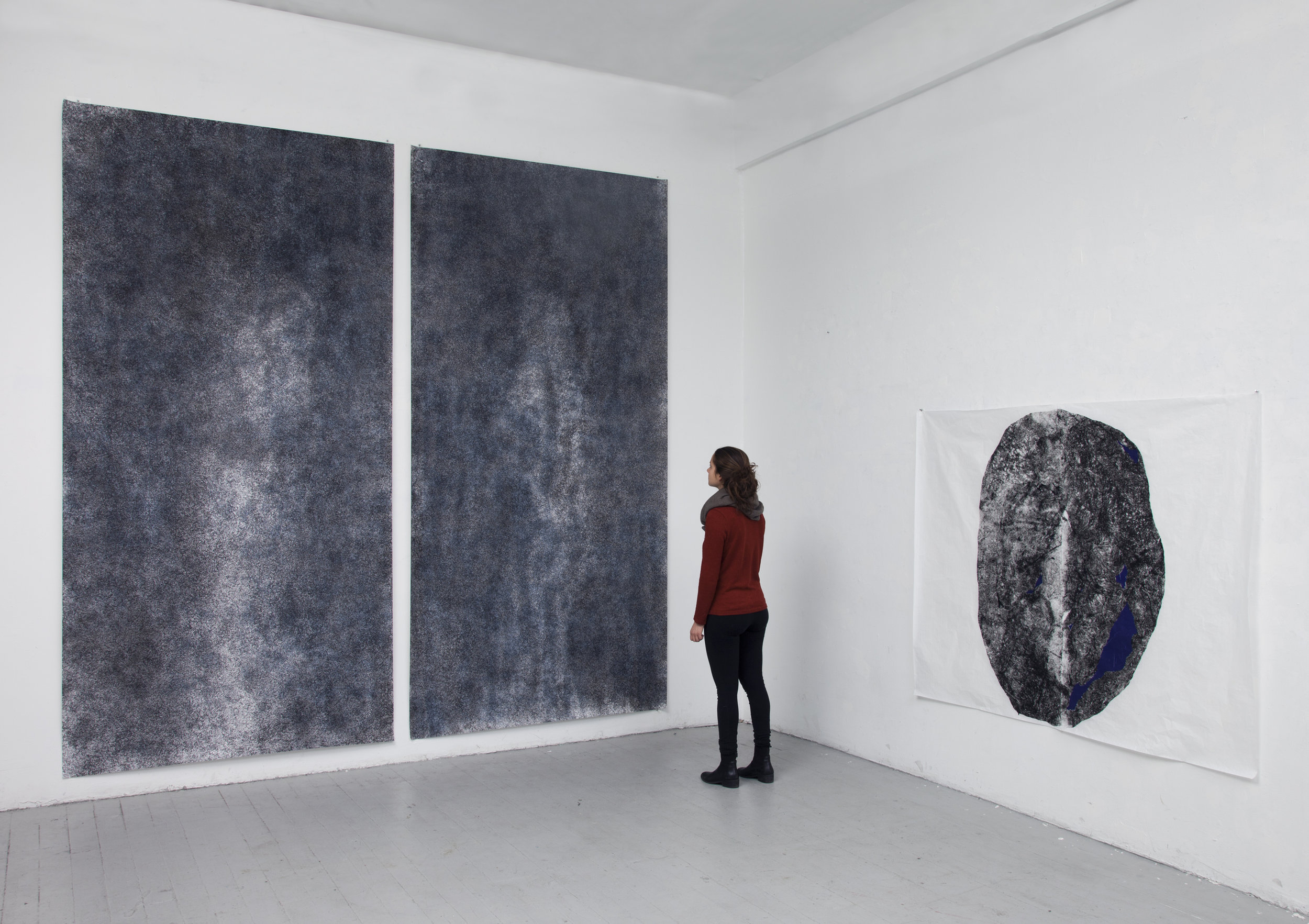 "05.  Dark Ground , installation   Silk screen and ink on paper. 2017. 60"" x 125"" each panel"