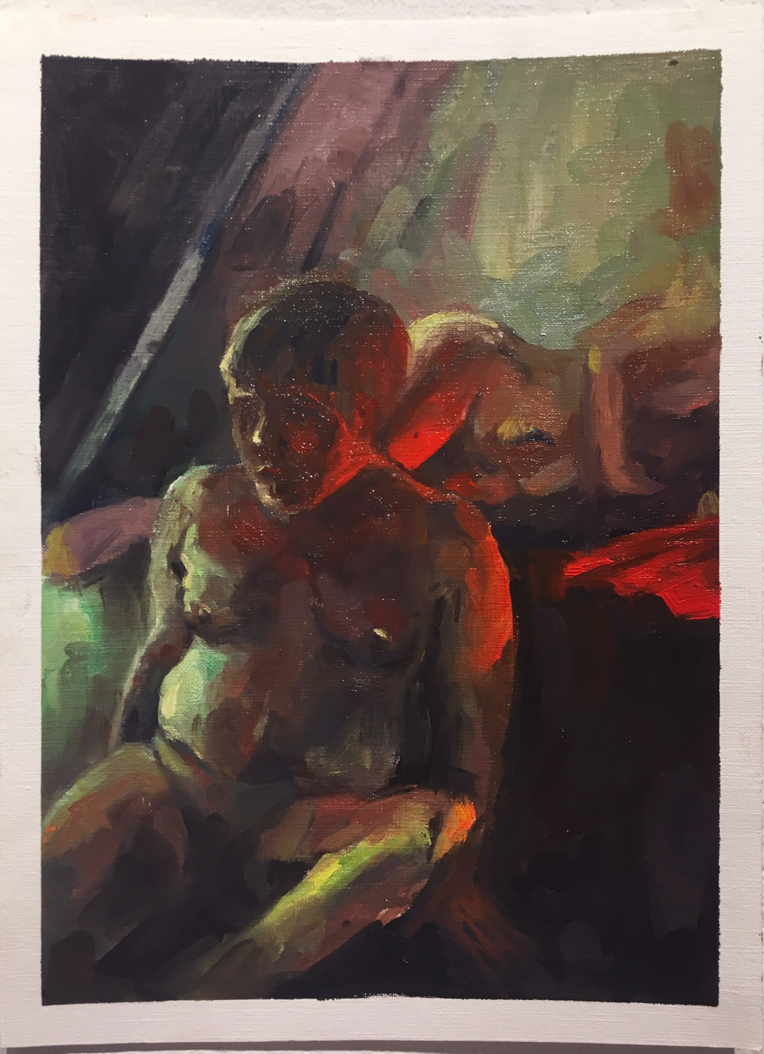 "16. Week 5 in-class assignment on lighting. by Angle L. 4 hours. Oil paint on canvas paper. 2018. 9"" x 12""  Painting Marathon, RISD. Paint the model setup with colored gels on lights."
