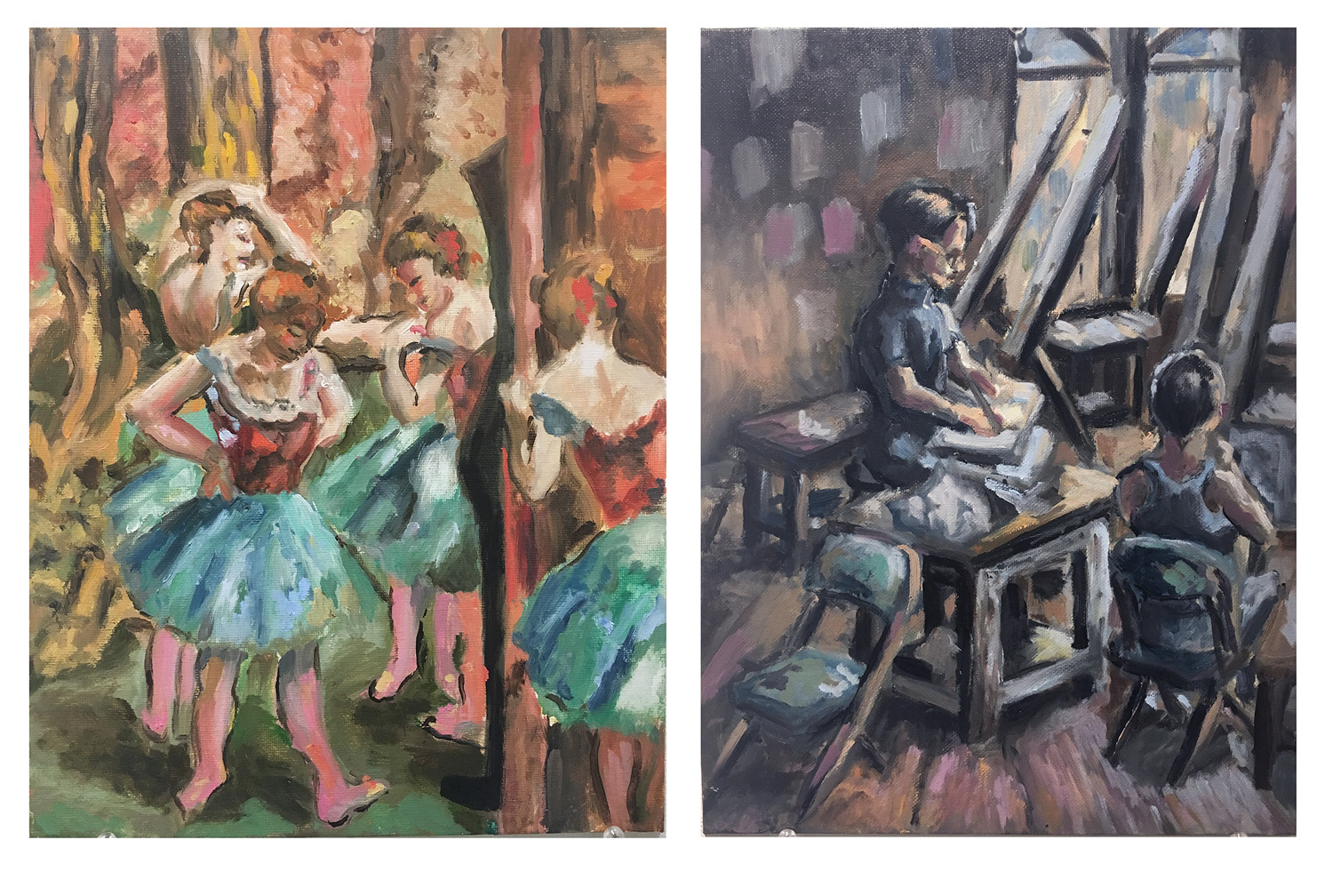 "Nate E. Homework Assignment: Make a master copy of a painting and then appropriate elements from your copy and make a new painting. Master work by Degas Oil paint on canvas. 2018. 11"" x 14"""