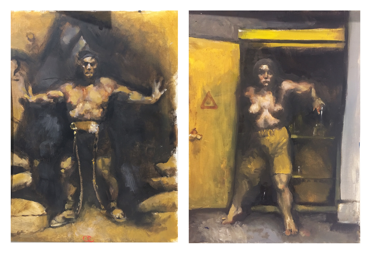 "Jordan L. Homework Assignment: Make a master copy of a painting and then appropriate elements from your copy and make a new painting. Oil paint on canvas paper. 2018. 11"" x 14"" each"