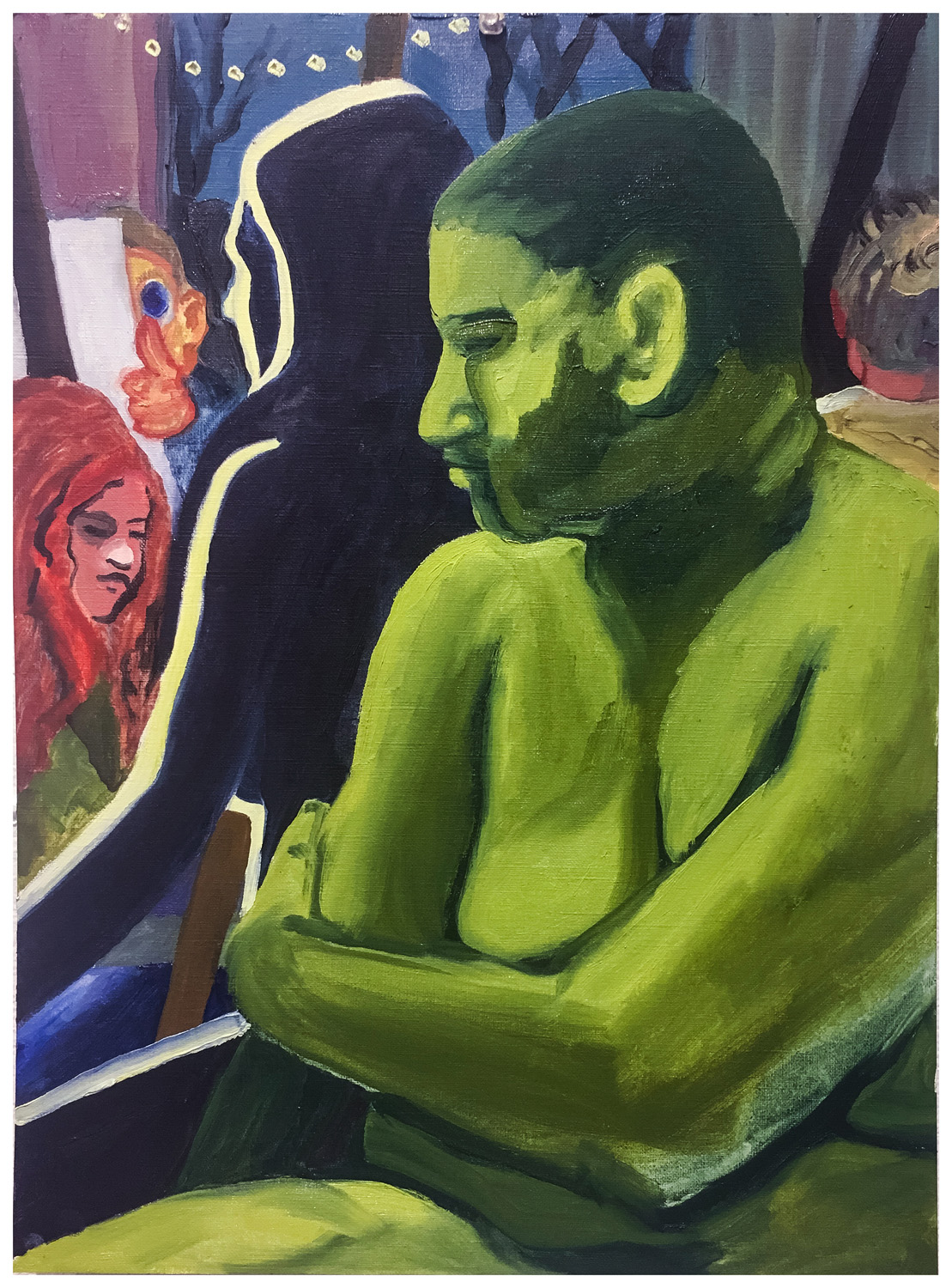 "15. Week 4 in-class assignment on appropriation, by Mary S. 4 hours. Oil paint on canvas paper. 2018. 11"" x 14""  Painting Marathon, RISD. Appropriate the color palette of another Artist. Nicole Eisenman."
