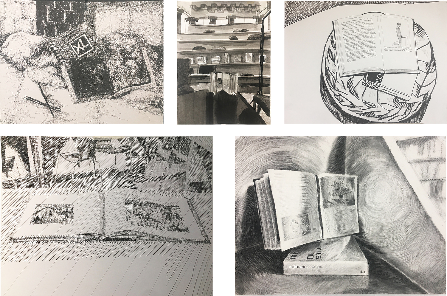 "04. Week 1 homework assignment: Open Book. by Mark, Jada, Izzy, Jazzmin, Scarlet. Pen on paper. 2018. 18"" x 24"" each  Drawing Fundamentals for Sculpture Majors, RISD"