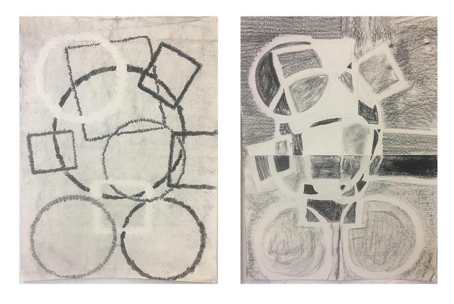 "08. Week 3 homework assignment: George Rush Erasure with line assignment. by Annamarie. Charcoal on paper. 2018. 18"" x 24"" each  Drawing Fundamentals for Drawing Majors, RISD  Assignment: Follow the instructions from George Rush, which involve folding the paper, drawing specific shapes and erasing marks. This project allows the students to work non-representationally and experiment with unfamiliar methods of creating compositions."