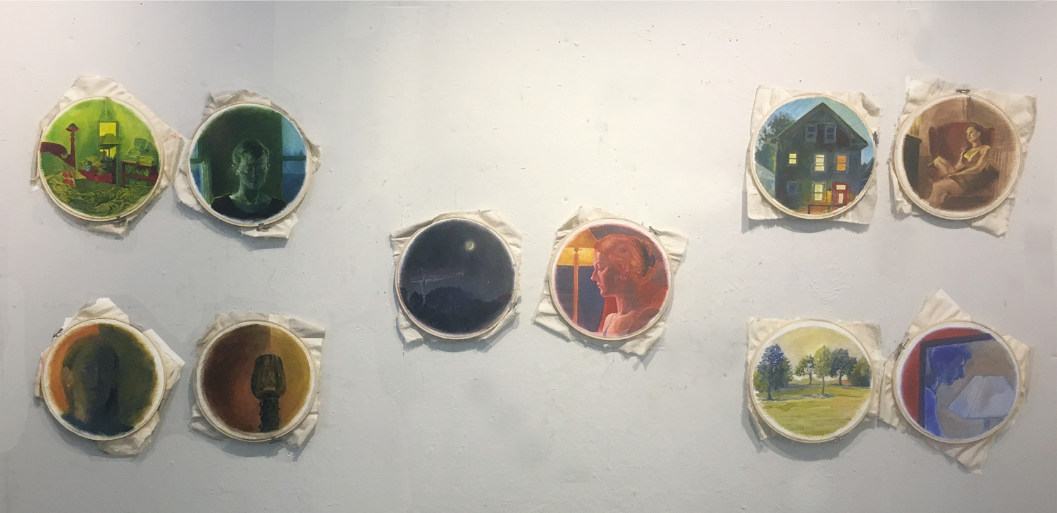 "15. Final Project by Arden. Oil paint on canvas stretched over embroidery hoops. 2018. 12"" x12"" each  Fundamentals of Oil Painting, RISD"