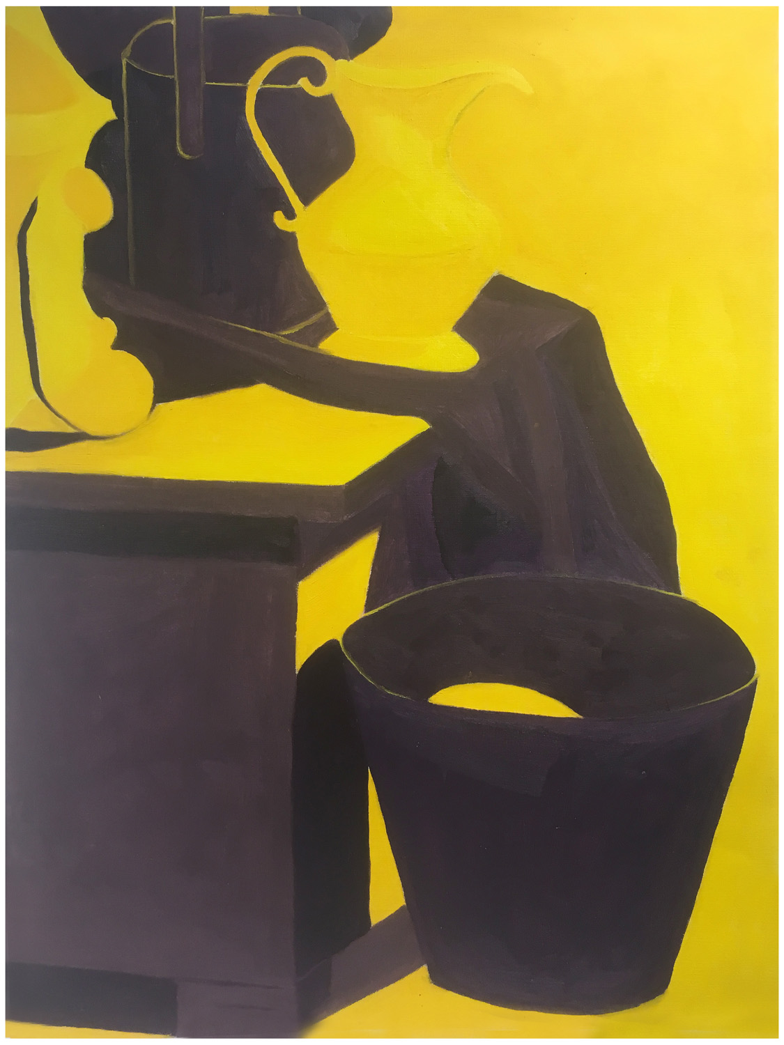 "By Leeah. In-class assignment: Complementary colors no white. Oil paint on canvas paper. 2018. 18"" x 24""   Fundamentals of Oil Painting , RISD"