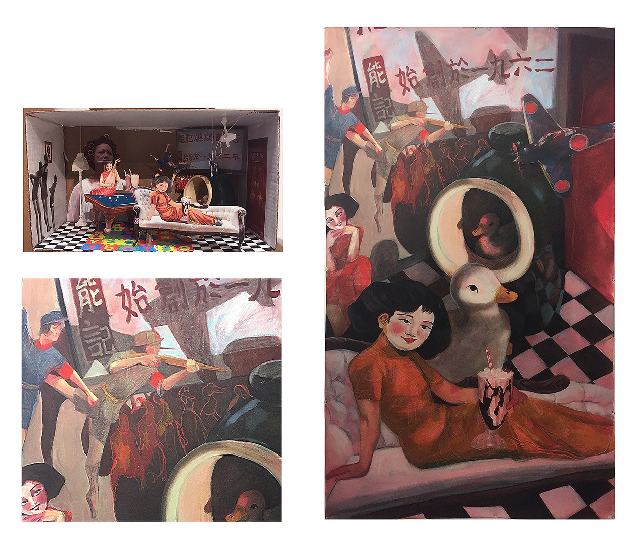 "19. ""Legacy"", by Pearl. Final Project. Oil paint on canvas. 2018. 40""x 60"". Painting 1: Color Perception and Expression, Illustration Department, RISD.  Assignment: Select a narrative, personal or otherwise and create a still-life box collage. Using your box create your final painting."