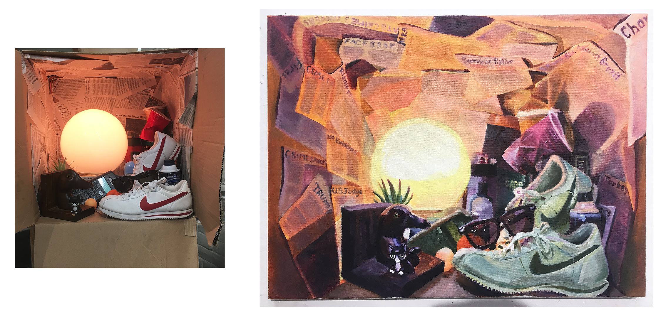 "20. ""In the Bubble"", by Remy. Final Project. Oil paint on canvas. 2018. 18""x 24"". Painting 1: Color Perception and Expression, Illustration Department, RISD.  Assignment: Select a narrative, personal or otherwise and create a still-life box collage. Using your box create your final painting."