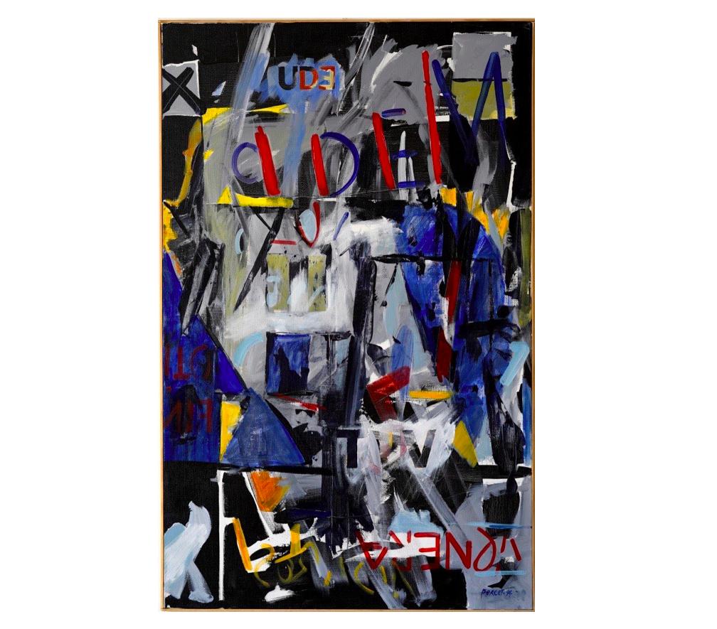 "Ayo, Nov. 1994   Jean Percet,  série ""les mots"" , HO. 598 Acrylique, 73 x 116 cm"