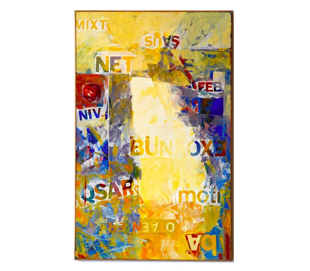 """Oaten, Oct. 1994   Jean Percet,  série """"les mots"""" , HO. 594 Huile sur toile, 73 x 116 cm"""
