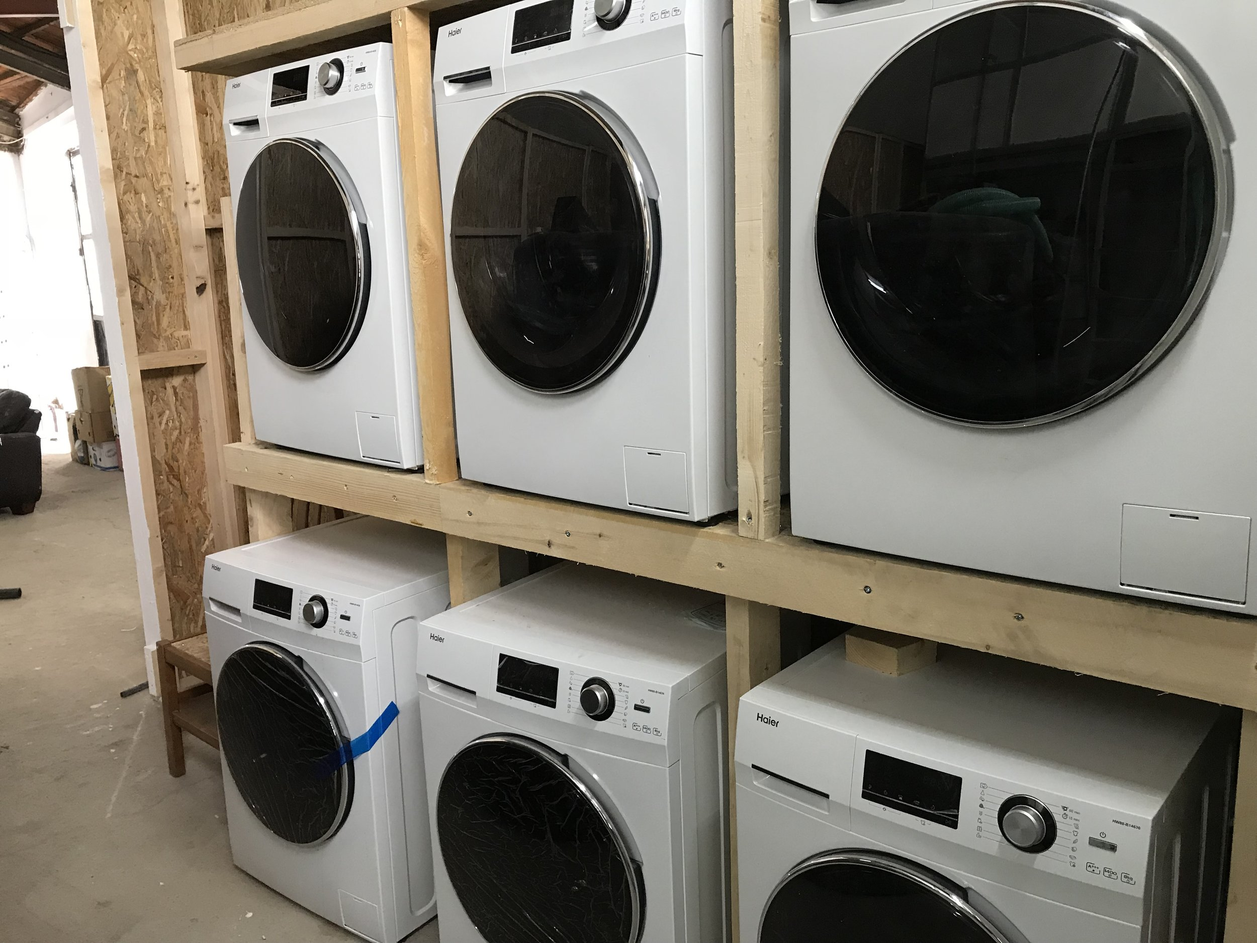 Lesvos - Showers for Sisters - We funded six urgently needed washing machines for a new women and children-only shower facility near Moria Camp in Lesvos. The women are able to do their washing whilst they shower and in the evening the towels are washed ready for the next day.