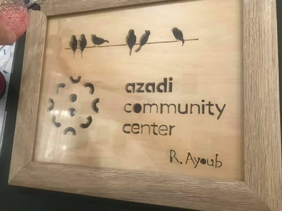 A gift for Azadi beautifully crafted by a young man in camp