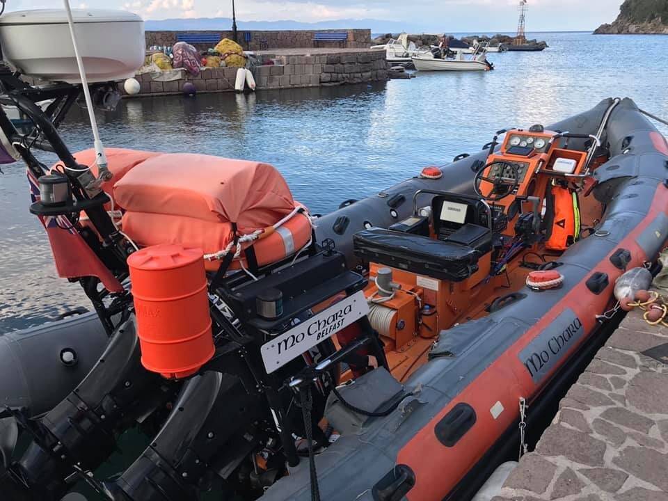 Mo Chara is the former RNLI Lifeboat operated on Lesvos's North Shore by our partners Refugee Rescue to support the Coast Guard