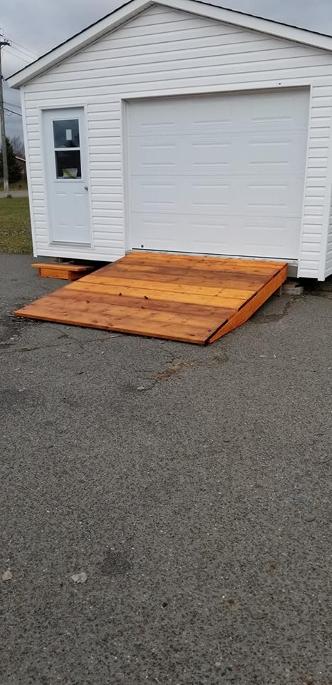 A hefty ramp to drive your car into its elevated garage.
