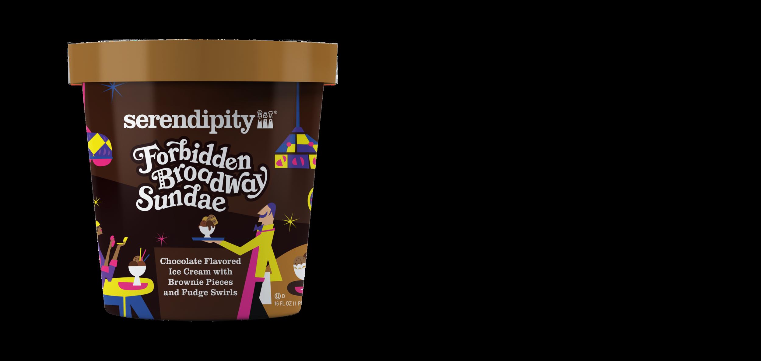 Forbidden Broadway Sundae - Chocolate Flavored Ice Cream with Brownie Pieces and Fudge Swirls