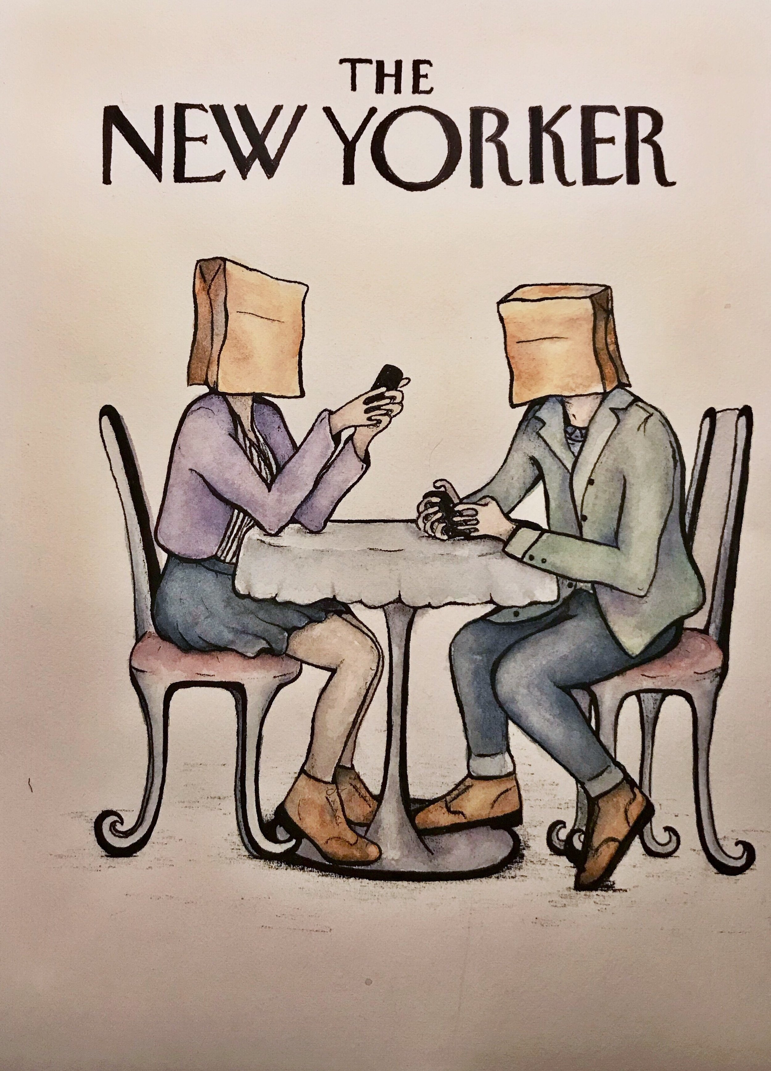 The New Yorker  Issue on Online Dating  Watercolor and Ink