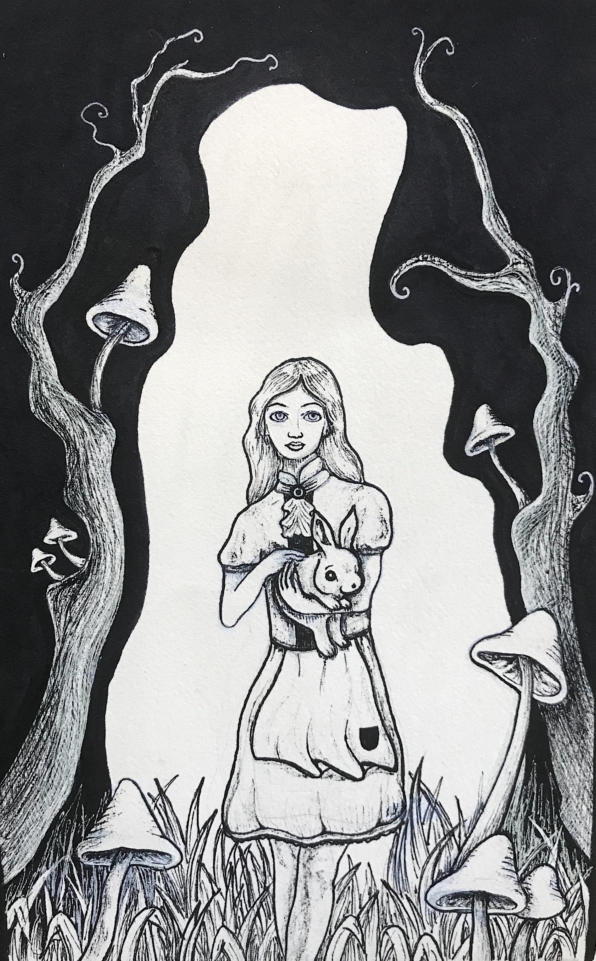 Children's Book Cover  Alice in Wonderland  Ink and Marker