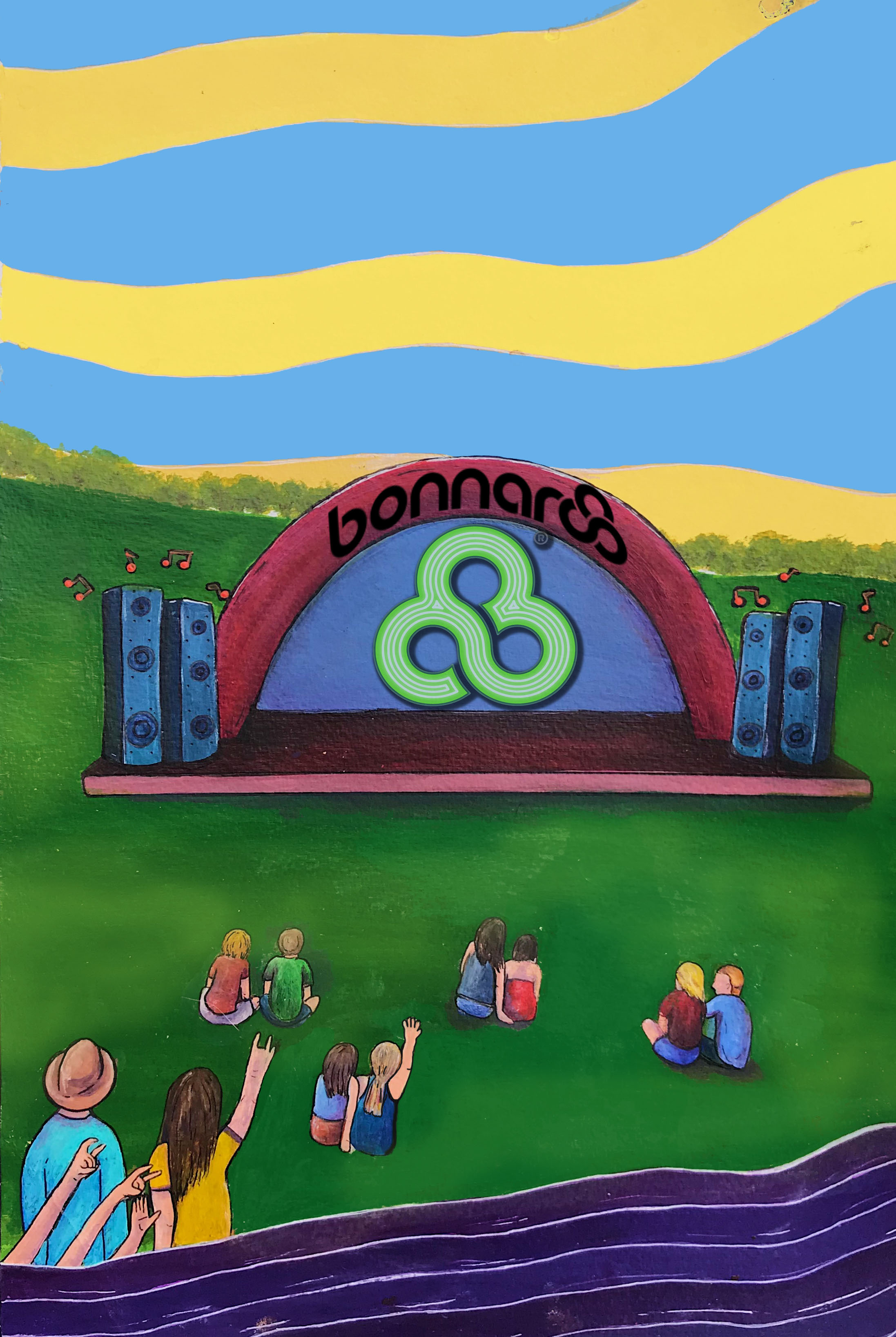 Mock 2018 Bonnaroo Poster  Made with Acrylic paint, edited on Photoshop  3/3