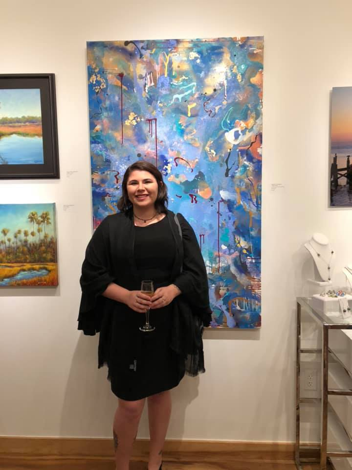 """Photo taken in front of my painting, """"I Was There"""" located at Gallery 500"""