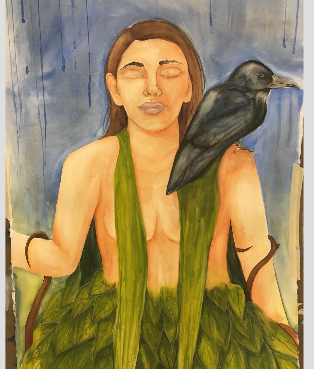 "Self Portrait  Watercolor on Paper 24""x36"""